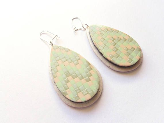 Geometric Pastel Tear Drop Earrings Statement Earrings