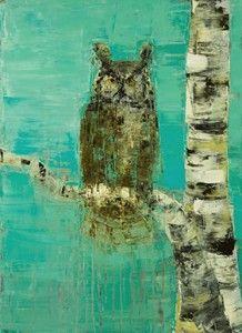 Great Horned Owl, Birch Tree