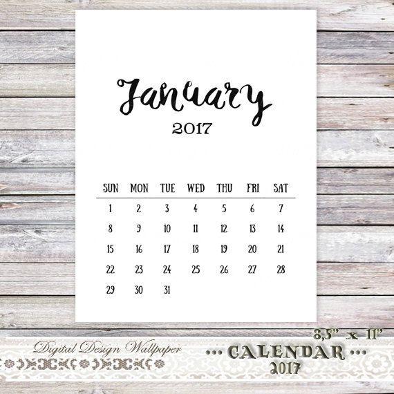 Printable Calendar 2017Calendar by DigitalDesignPaper on Etsy