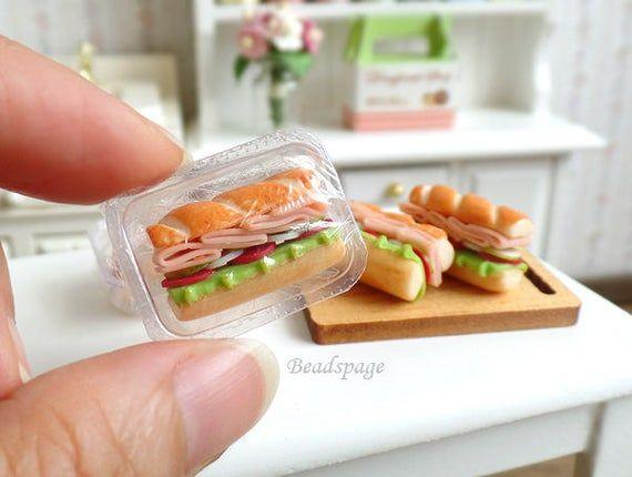 Sous Sandwich Miniature Selectionnez Lelement De La Liste Doptions Voir La 2eme Photo Pour Plus De Details Mini Aliments Nourriture Miniature Pate Fimo Facile