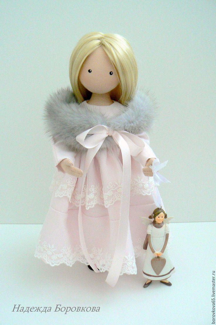 Купить Адель - бледно-розовый, кукла в подарок, интерьерная кукла, кружево, кружево на сетке