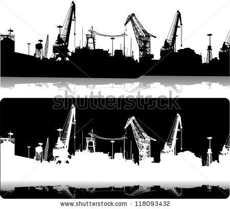 silhouette harbour crane - Google-haku