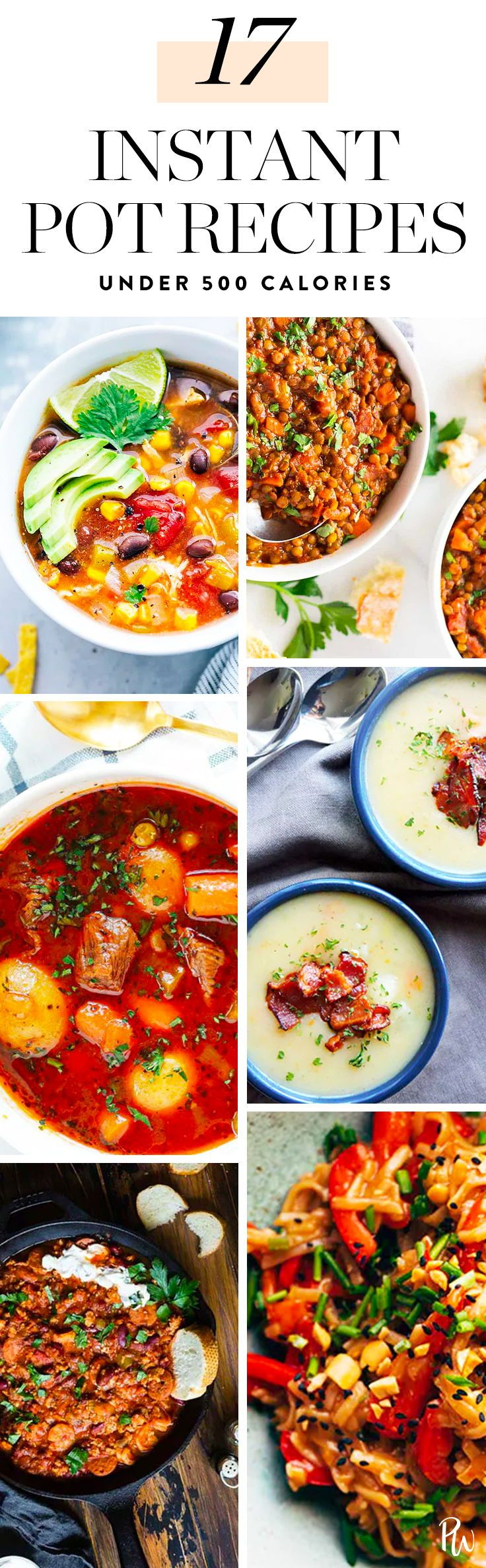 Yesss, These 17 Instant Pot Dinners Are 500 Calories or Less. #instantpot #instantpotdinners #dinnerrecipes #easydinners #food #soup #chickenrecipes #healthydinners #healthyrecipes