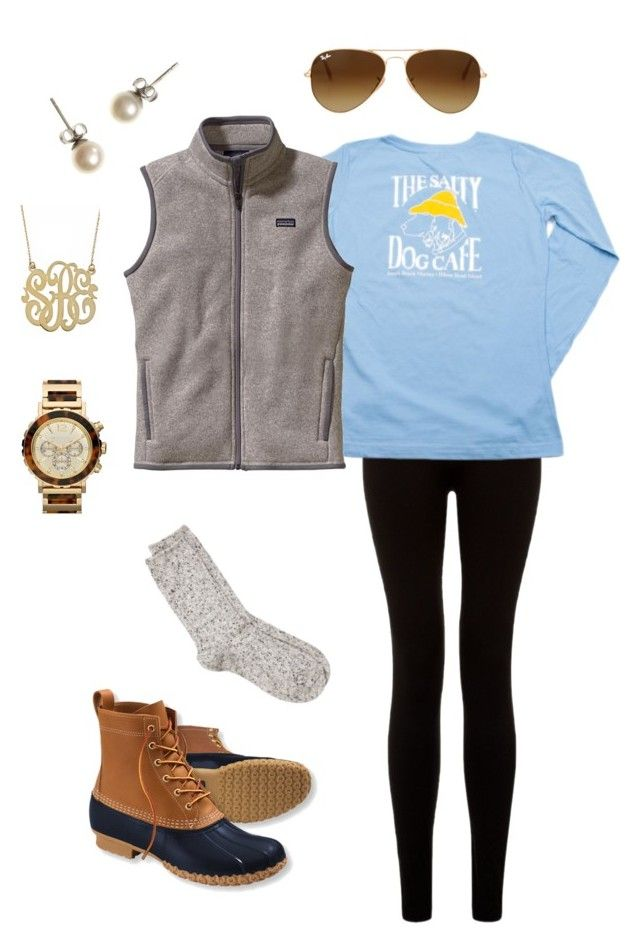 """The Salty Dog Cafe"" by whalesandprints ❤ liked on Polyvore featuring L.L.Bean, River Island, Patagonia, J.Crew, MICHAEL Michael Kors and Ray-Ban"