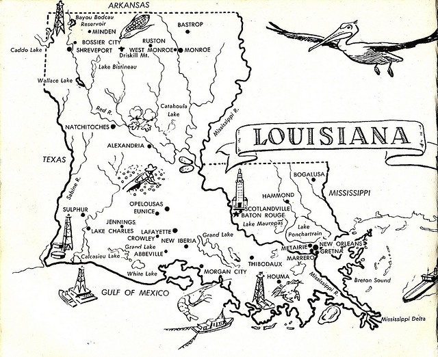 Louisiana State Map by Calsidyrose, via Flickr