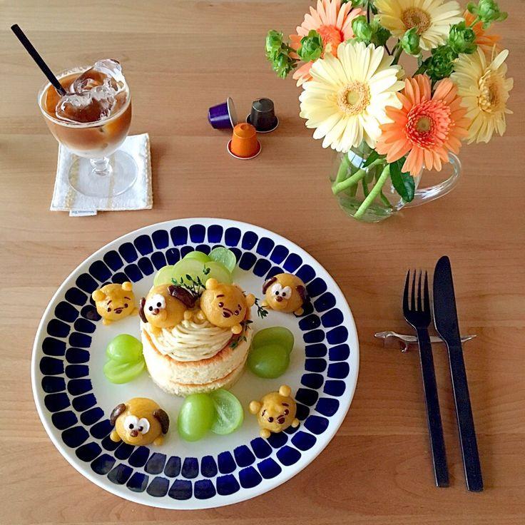 jarinko's dish photo スイートポテトのツムツムパンケーキで朝ごはん | http://snapdish.co #SnapDish #コーヒーとともに過ごす朝 #朝ご飯 #キャラクター #ドーナツ/クレープ/パンケーキ