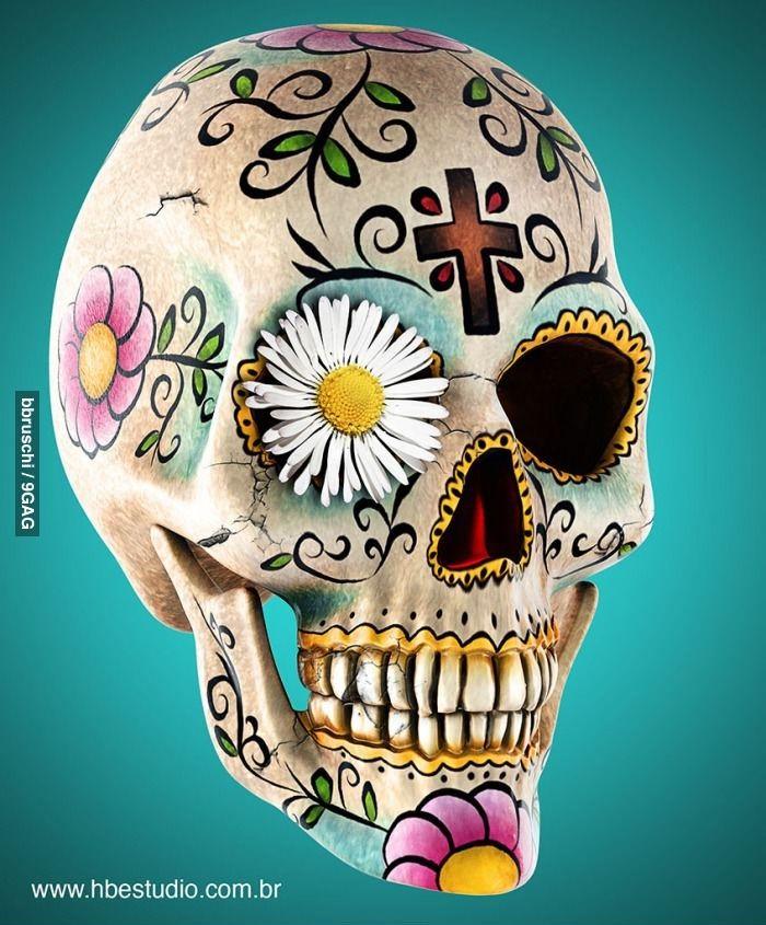 #CaveiraMexicana ☆ É uma #Caveira Estilizada, Colorida e Decorada com Desenhos e Flores.
