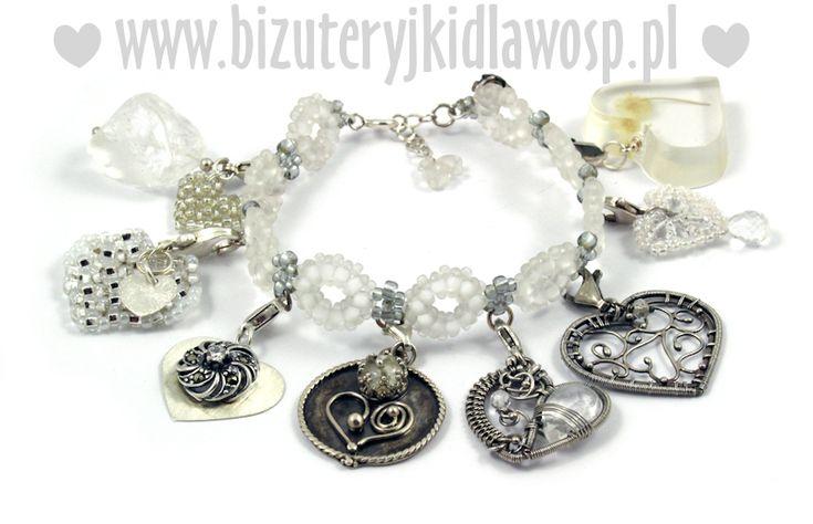 """Bransoletka i charmsy """"LOVE IS IN THE AIR"""" z kryształami dla WOŚP"""