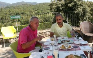 Johan Cruyff and his protege, Josep Guardiola.