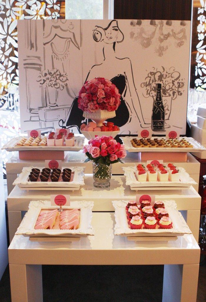 black, white, pinks, chic, dessert table