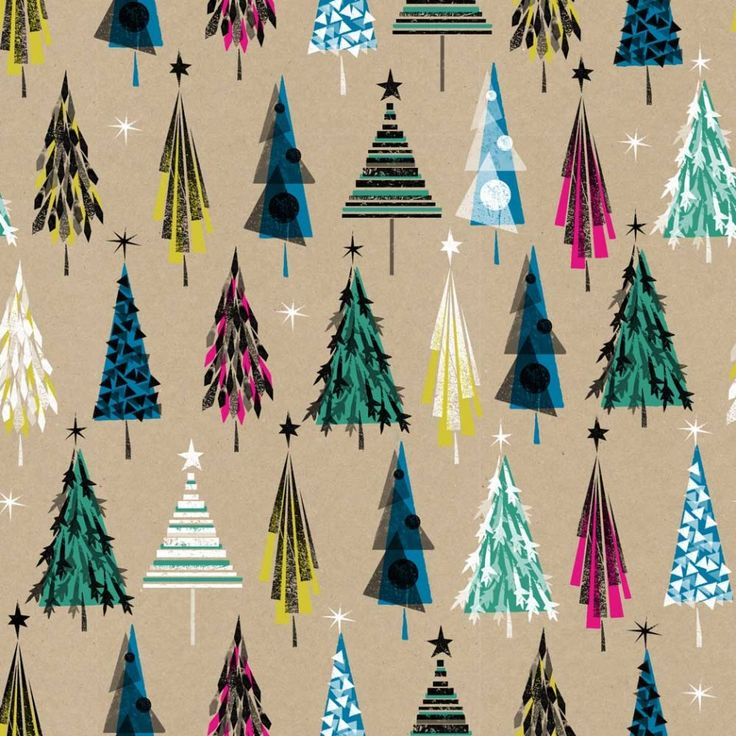 Stampy trees 3m Christmas roll wrapping paper