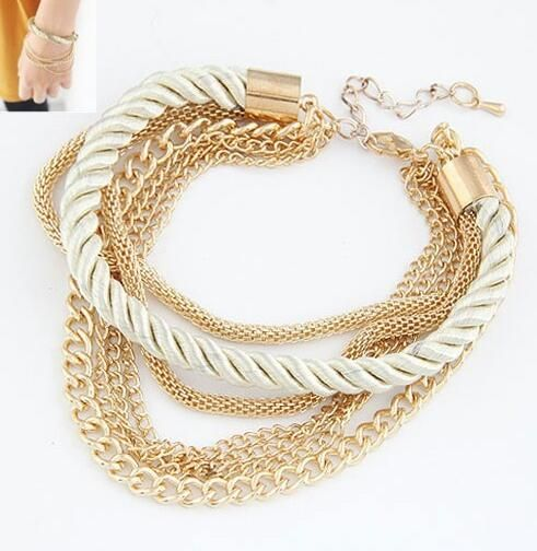All-Purpose 6 Types, Seven Multi Layer Bracelets for Women, Black Korean Velour Woven Charm Bracelet Woman, Metal Chain Anklet