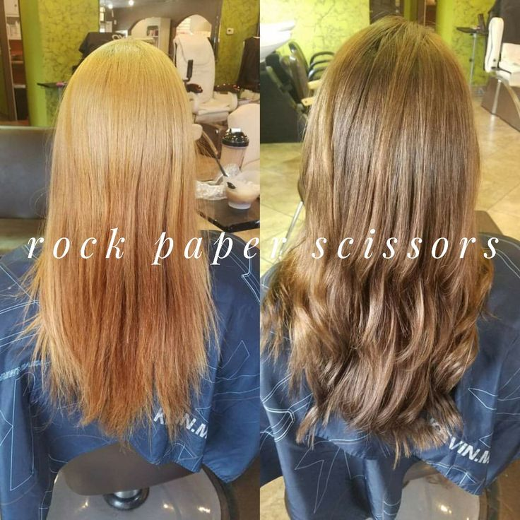 Before & After Kevin Murphy Color.Me done at ROCK paper Scissors in Bolivar,  MO  Blonde to Natural Brown