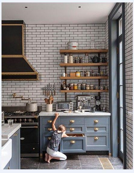 kitchen white brick tile grey grout