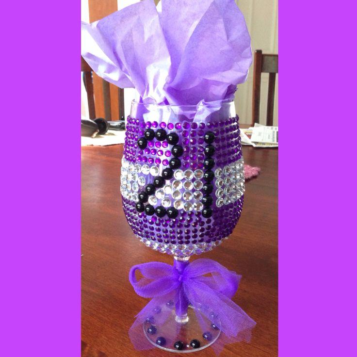21st wine glass birthday ideas for her! #diy #21 #birthday #purple #girls #wineglass #classy #friends #her #fun