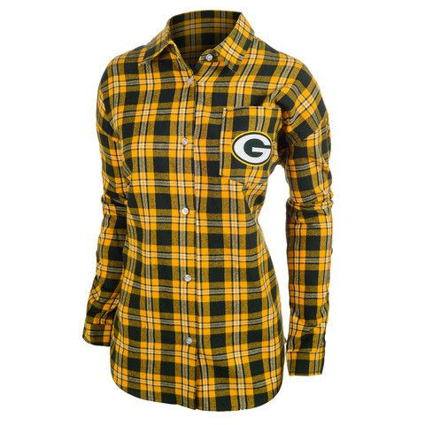 Green Bay Packers Wordmark Long Sleeve Women's Flannel Shirt by Klew (Will Ship In November)