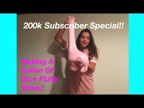 Making A Gallon Of Glue Fluffy Slime!! 200k Subsciber Special!! - YouTube