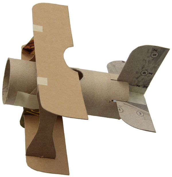 turn a toilet paper roll and a cereal box into an airplane! Then paint it however you like.
