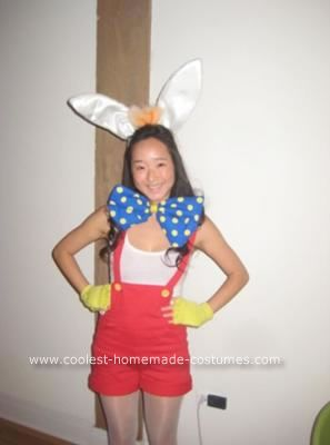 Homemade Female Roger Rabbit Costume: This homemade female Roger Rabbit costume all started with a basic red romper. I replaced the original buttons with yellow ones and cuffed the bottom of