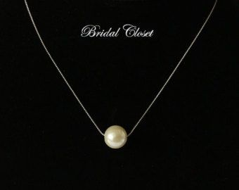 Single pearl necklace Floating pearl necklace Bridal by KeyYoung