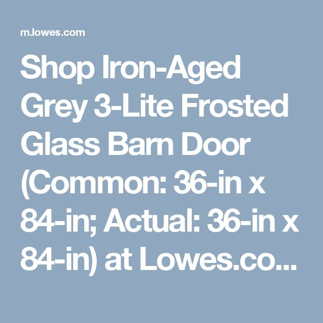 Shop Iron Aged Grey 3 Lite Frosted Glass Barn Door  Common  36. 1000  ideas about Barn Doors Lowes on Pinterest   Sliding doors