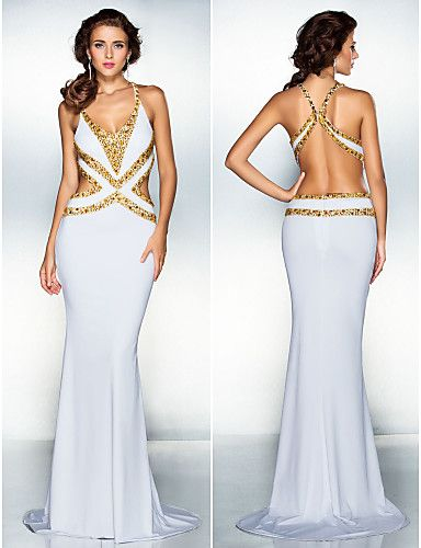 ea6f97f14 Vestido de Noche Largo Blanco de Espalda Descubierta   Vestidos de Fiesta  Baratos Blog