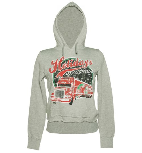 Ladies Grey Coca Cola Holidays Are Coming Truck Hoodie. I want this so bad!