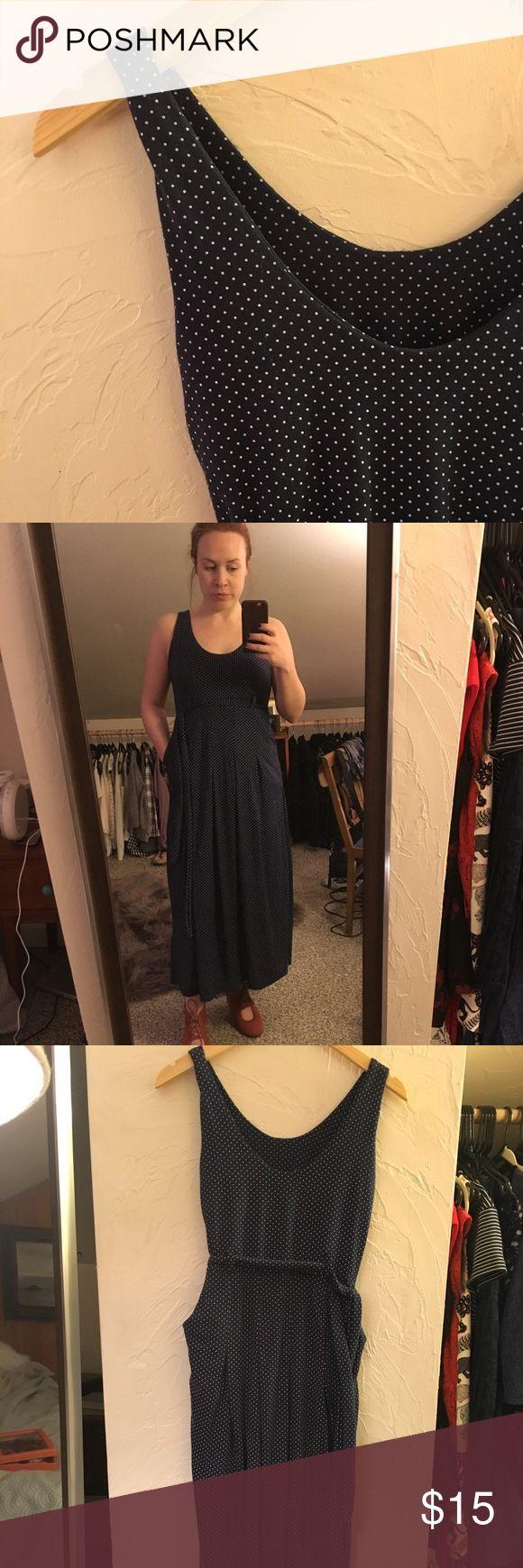 Polka dot European brand maxi dress. Soft comfortable polka dot maxi dress with pockets. Could be worn as a comfy day dress or beach coverup. Dresses Maxi