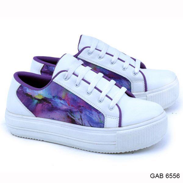 Sepatu Kets Wanita Gab 6556 Putih Ungu Garshel Sepatu Kets