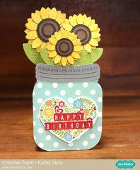 Love this adorable shaped card. Use dies or an electronic die cut machine to create a card shaped like sunflowers in a mason jar.