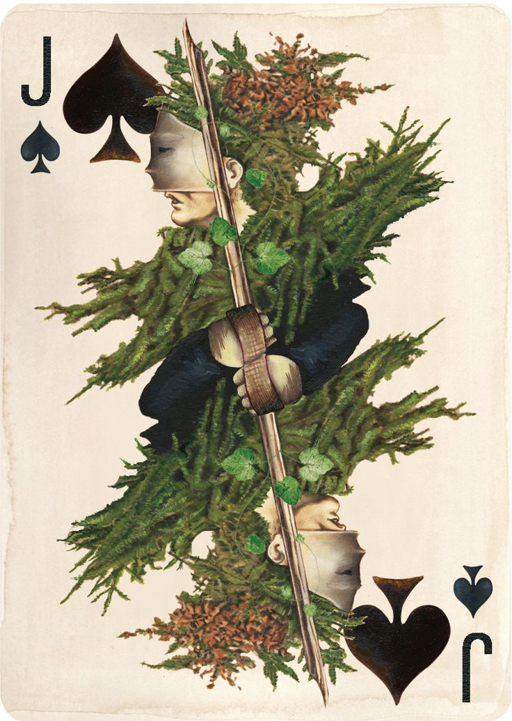 "Hand painted Jack Of Spades from Uusi's new card deck ""Pagan""."