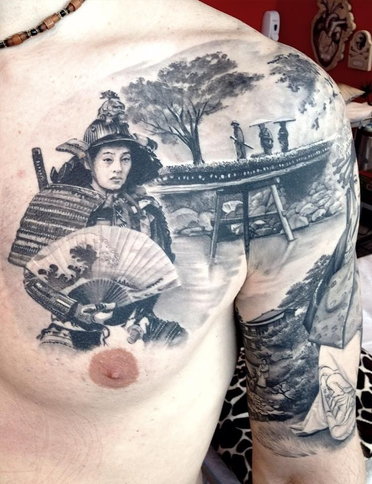 Amazing japanese landscape and samurai tattoo on chest and arm