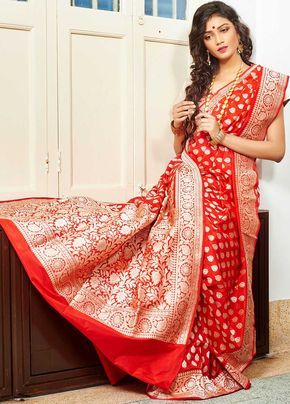 RED BENARASI SAREE WITH BLOUSE | ISHA