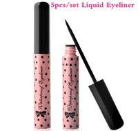 5pcs / set Moda Maquillaje Negro Liquid Eyeliner Pluma Rosa Carcasa Suave Liquid Delineador de ojos a prueba de agua de larga duración herramientas de cosméticos de ojos