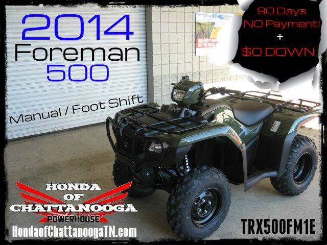 2014 Foreman 500 TRX500FM1E SALE Price at Honda of Chattanooga is too Low to advertise. Visit www.HondaofChattanoogaTN.com or Call / Email Kevin for the lowest & best 2014 Foreman 500 4x4 ATV Sale Price. Our 2014 Foreman ES 500 ATVs are in stock and we have special financing promotions with $0 DOWN and 90 Days NO Payment on our 2014 Honda ATVs.TRX500FM1E / TRX500FM2E / TRX500FE1E / TRX500FE2E. Wholesale Honda ATV Prices at Honda of Chattanooga TN GA AL ATV Dealer