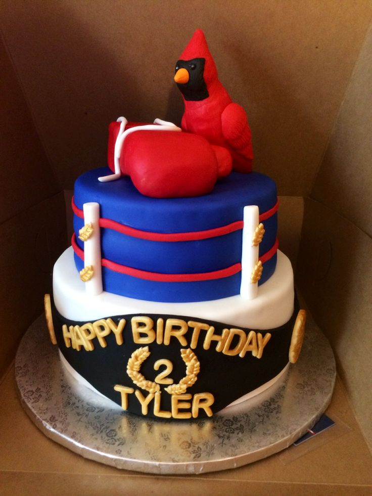 Cardinal / Boxing themed Birthday Cake for a special little boy named Tyler.  Please read his story on FB: Tyler's Fight for Life This cake was donated to this family through an amazing organization called Icing Smiles. So proud to work with them.