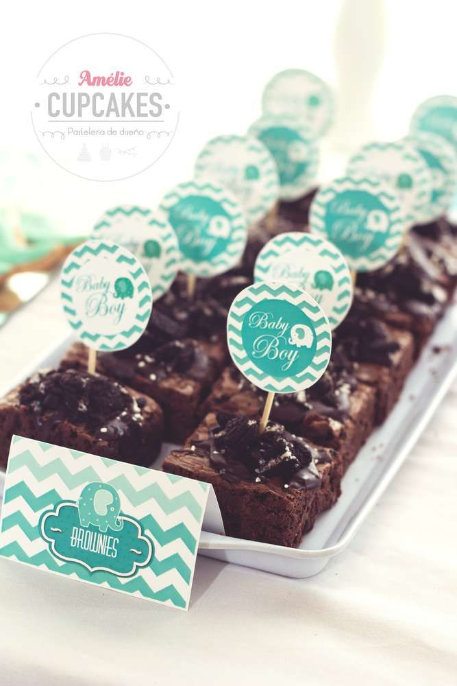 Brownies at an elephant baby shower party! See more party ideas at CatchMyParty.com!