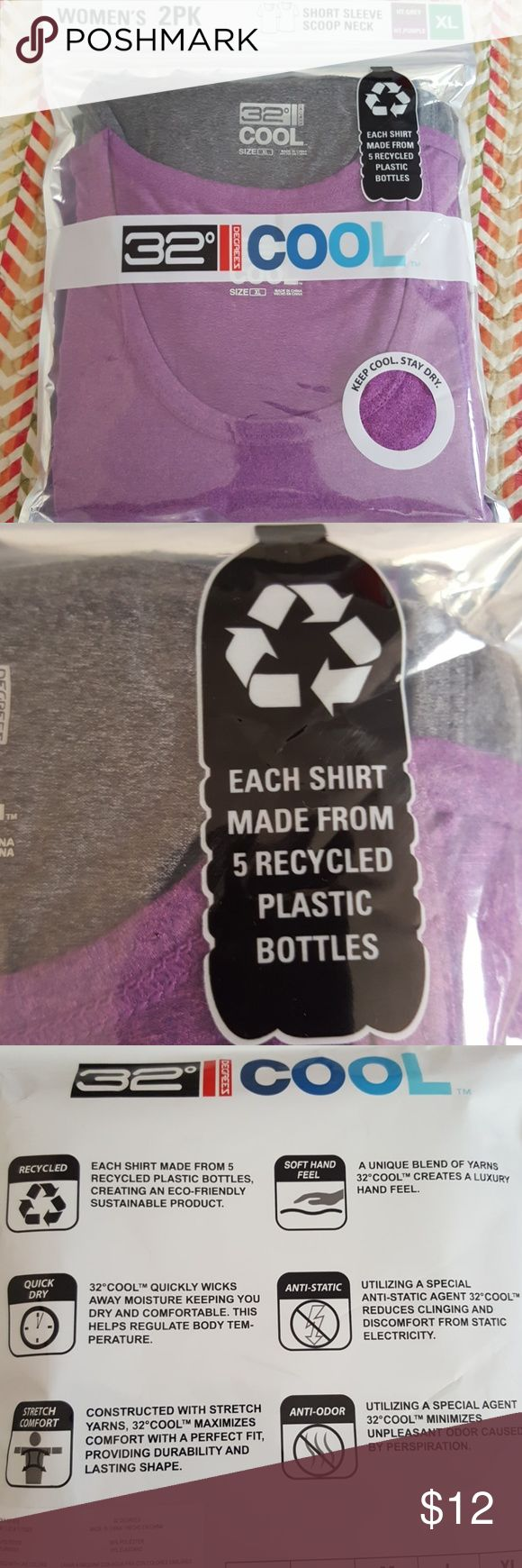 2 pk 32 degrees cool purple gray athletic t shirt Nwt scc pic for details ... runs small 32 degrees cool Tops Tees - Short Sleeve