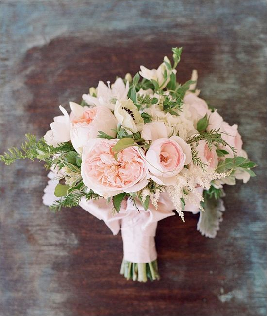 Pink and white wedding bouquet.