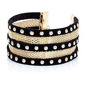 Black stacked studded bracelet