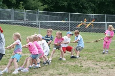 OMGosh. We did a tug of war at school on field day last year, the kids against the adults. About 48 kindergarteners drug us six teachers over the center line. We never stood a chance. Of course the kids were anchored by somebody's HUGE daddy or we six ladies would have won. Right?
