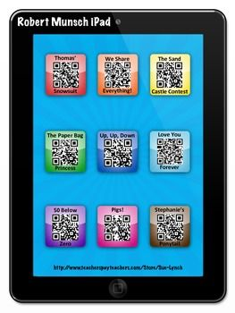 Robert Munsch iPad/iPod Listening Center~Students scan the QR Code and have a story read to them!  Pigs!, 50 Below Zero, Stephanie's Ponytail to name a few silly stories by Robert Munsch.