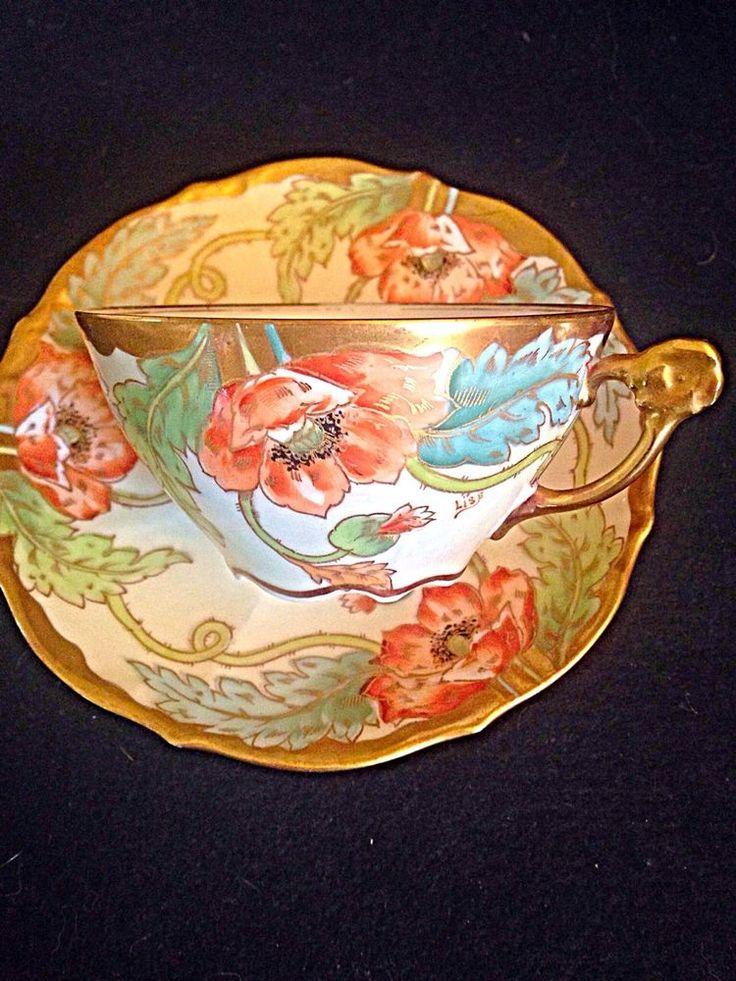 Elite Limoges Art Nouveau flower handle hpt Artist Signed Tea Cup And Saucer #ArtNouveau #elitelimoges