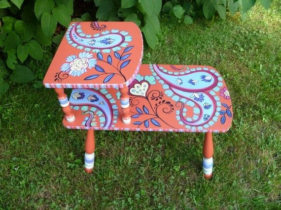 vintage handpainted paisley end table robin knoblock coralperiwinkleaqua like the bobby socks effect on the legs