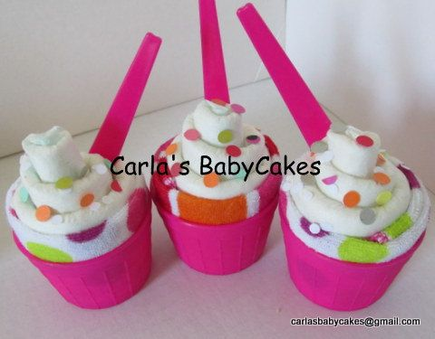 Diaper Ice Cream Favors Diaper Cupcakes with by MsCarlasBabyCakes, $2.50