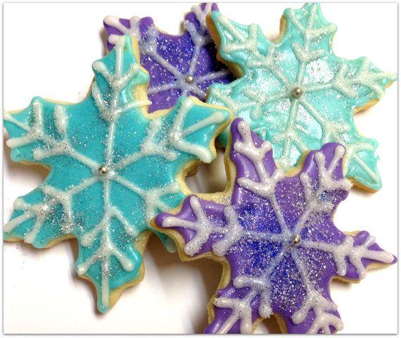 Frozen Snowflake Sugar Cookies Iced by SugarMeDesserterie on Etsy