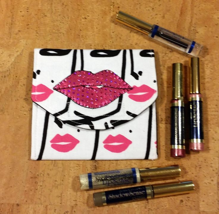 LipSence, Lipstick, lip gloss pouch, holder, custom made, lady with pink lips, holds 6-7 lipsticks, hot pink lips , great down line gift by jewellgem on Etsy