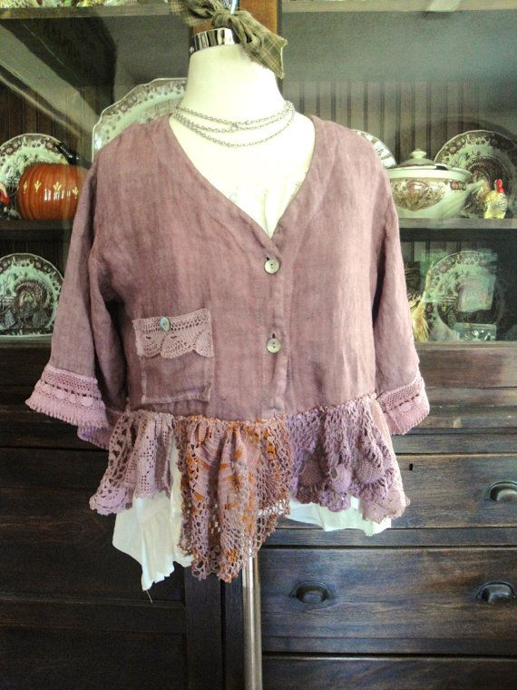 Luv Lucy Plum Crazy Cropped Linen jacket by TheVintageRaven, $125.00