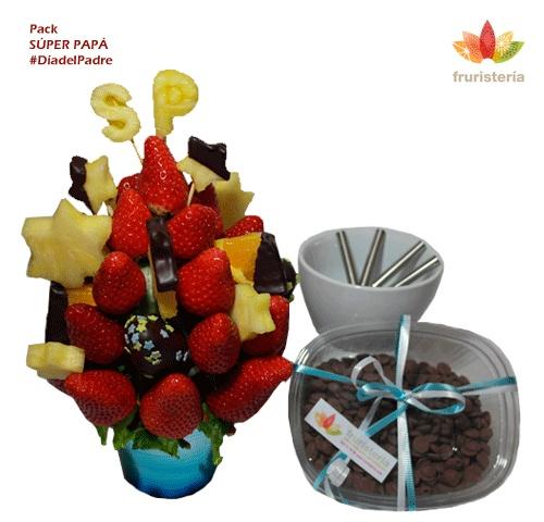 "Pack ""Super Papá""   Ramo de frutas ""Super Papá"" + Fondue de chocolate para 4 personas + 400 gramos de chocolate belga con leche   #DiadelPadre"