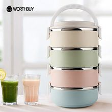 WORTHBUY 4 Lagen Rvs Japanse Lunch Boxs Container Voor Voedsel Picknick Bento Box Draagbare Thermische Zak Servies Sets(China)